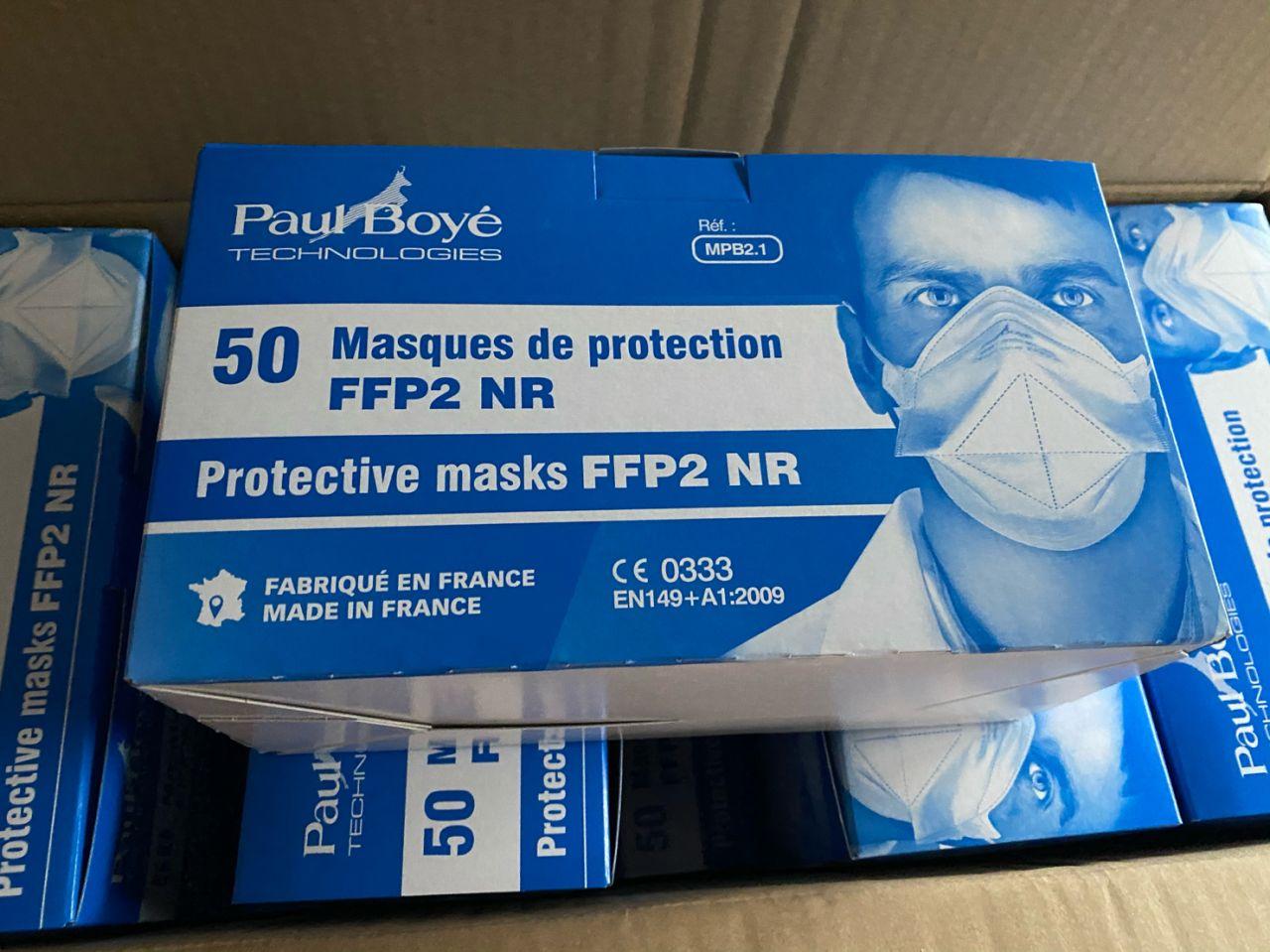 Masque FFP2 Paul Boyé vu d'une boite de 50 masques