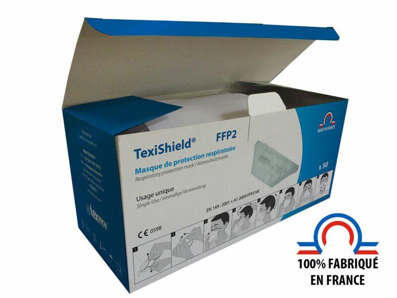 Masque ffp2 fabriqué en France, boîte de 50 unités