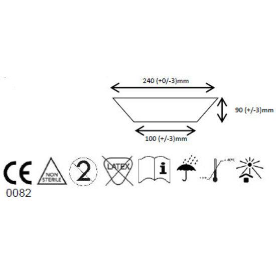 logo avec sigle d'entretien et dimensions du masque KOLMI
