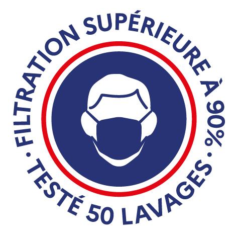 FRANCE MASQUE filtration supérieure à 90% testé 50 lavages